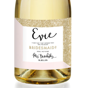 """Evie"" Gold Glitter + Pink Bridesmaid Proposal Champagne Labels"