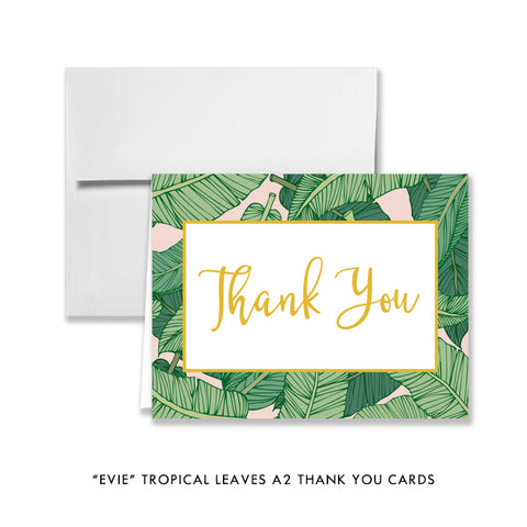 """Evie"" Tropical Leaves Thank You Card"