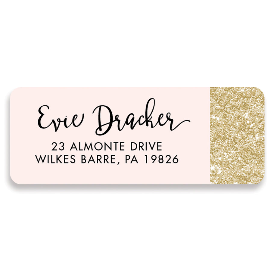Pink + Gold Glitter Address Labels | Evie