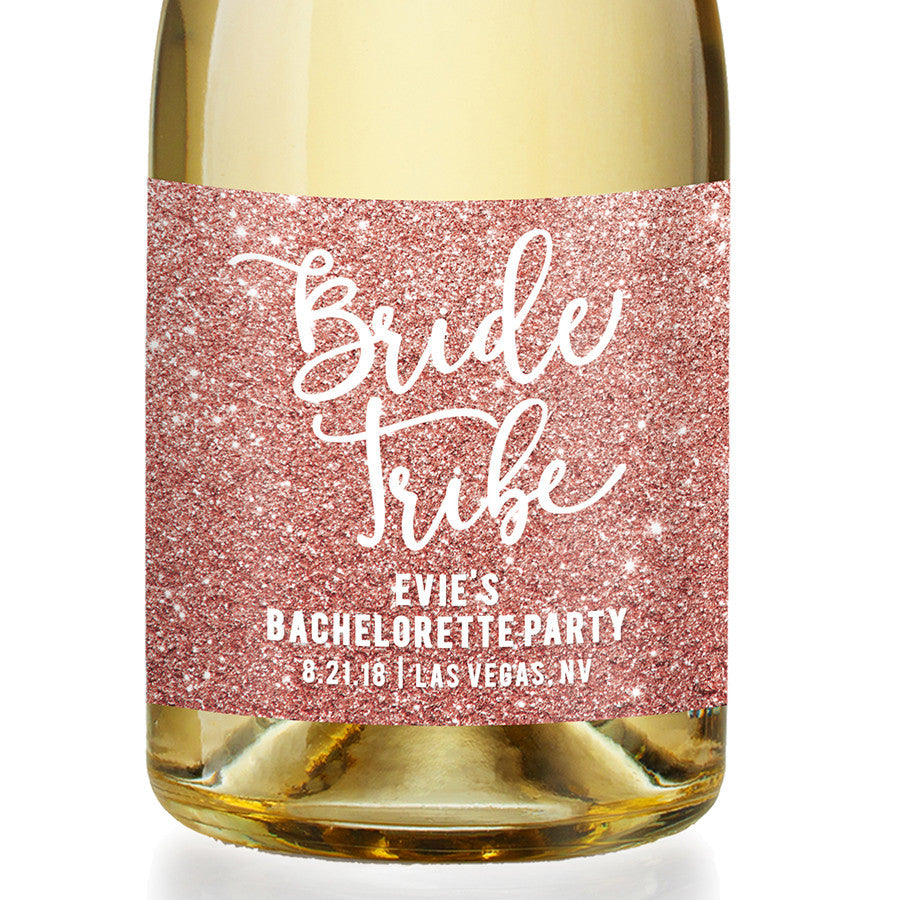 """Evie"" Pink Glitter Bachelorette Party Champagne Labels"