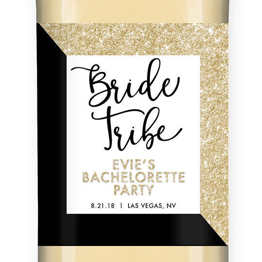 """Evie"" Gold Glitter + Black Bride Tribe Bachelorette Party Wine Labels"