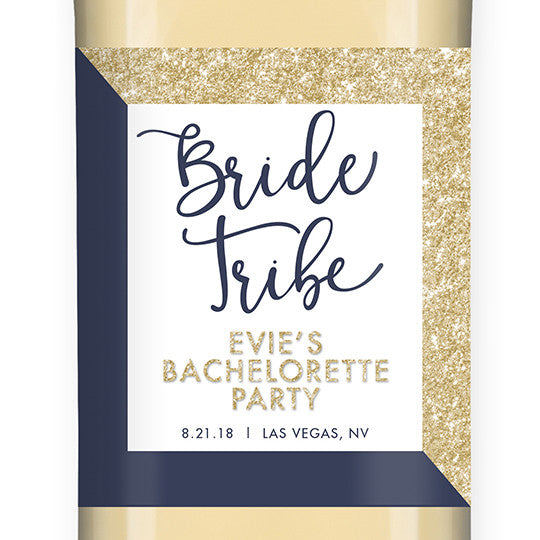 """Evie"" Gold Glitter + Navy Bride Tribe Bachelorette Party Wine Labels"