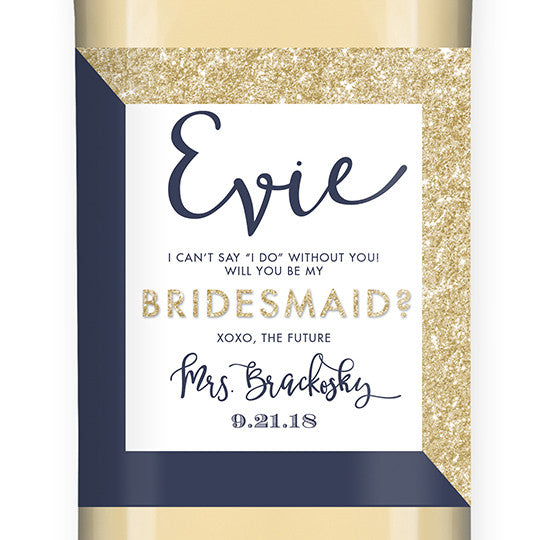 """Evie"" Gold Glitter + Navy Bridesmaid Proposal Wine Labels"