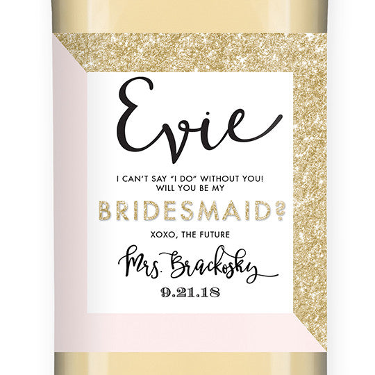 """Evie"" Gold Glitter + Pink Bridesmaid Proposal Wine Labels"