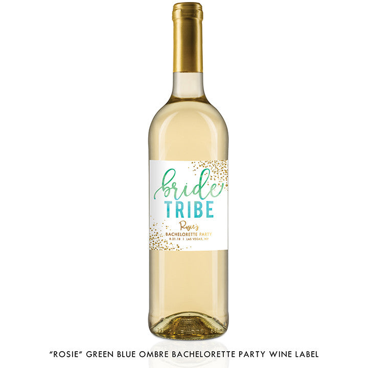 """Rosie"" Green Blue Ombre Bride Tribe Bachelorette Party Wine Labels"