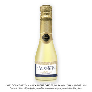 """Evie"" Gold Glitter + Navy Bachelorette Party Champagne Labels"