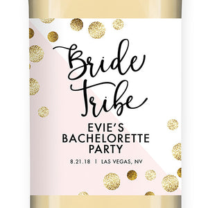 """Evie"" Pink + Gold Dots Bride Tribe Bachelorette Party Wine Labels"