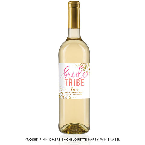 """Rosie"" Pink Ombre Bride Tribe Bachelorette Party Wine Labels"