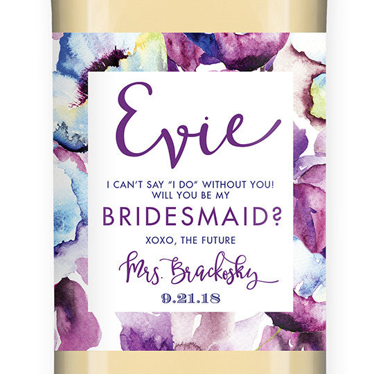 """Evie"" Purple Floral Bridesmaid Proposal Wine Labels"