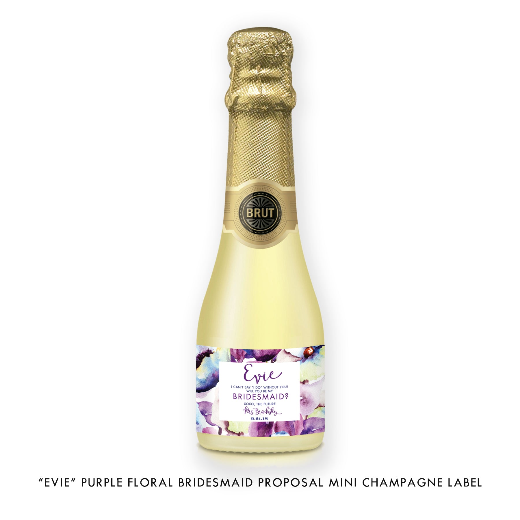 """Evie"" Purple Floral Bridesmaid Proposal Champagne Labels"