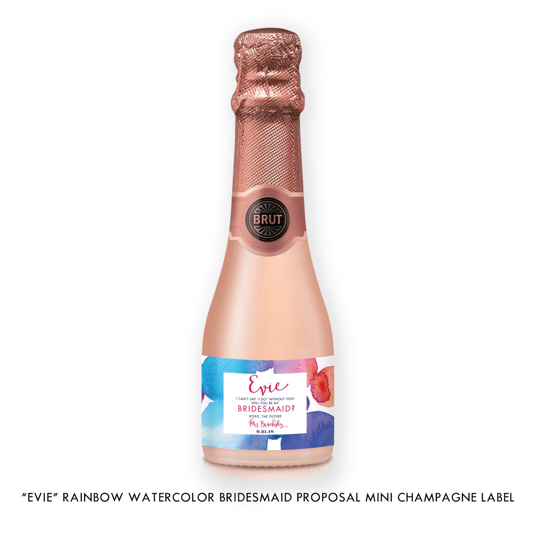 """Evie"" Rainbow Watercolor Bridesmaid Proposal Champagne Labels"