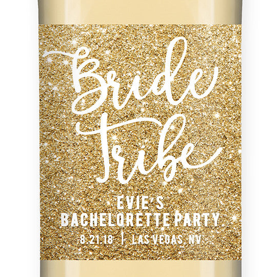 """Evie"" Gold Glitter Bride Tribe Bachelorette Party Wine Labels"