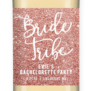 """Evie"" Pink Glitter Bride Tribe Bachelorette Party Wine Labels"