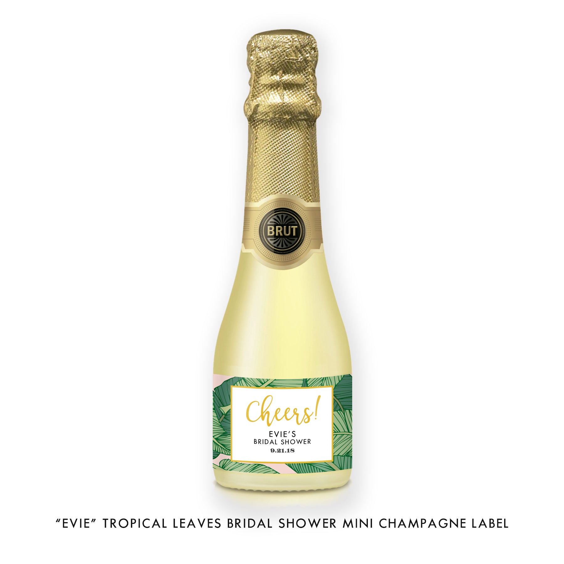 """Evie"" Tropical Leaves Bridal Shower Champagne Labels"
