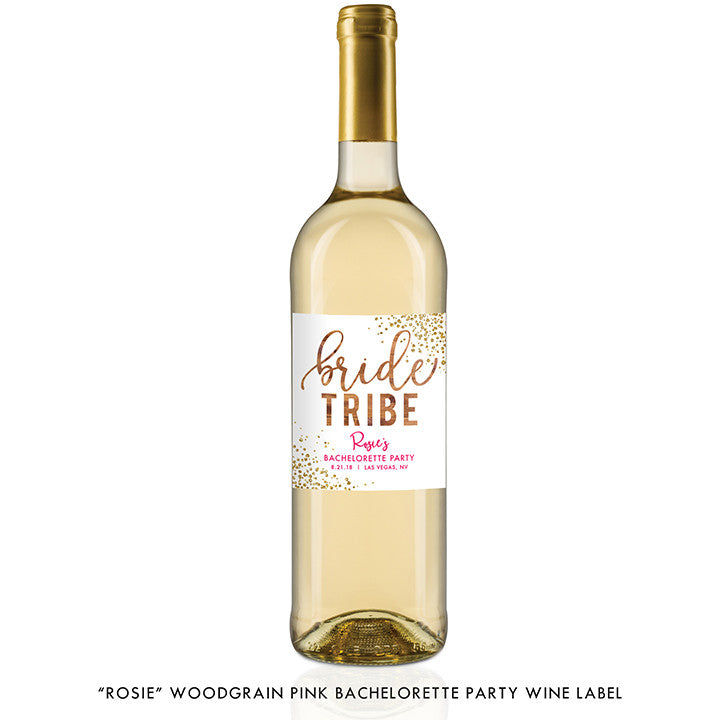 """Rosie"" Woodgrain Pink Bachelorette Party Wine Labels"