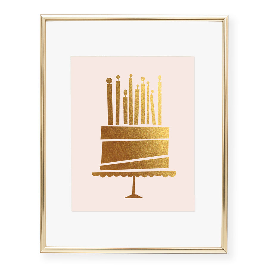 Birthday Cake Foil Art Print