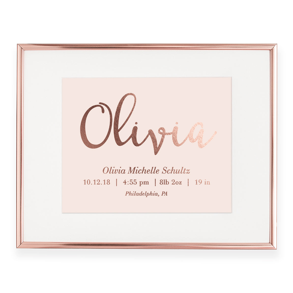 Personalized Baby Birth Stats Foil Art Print | Olivia