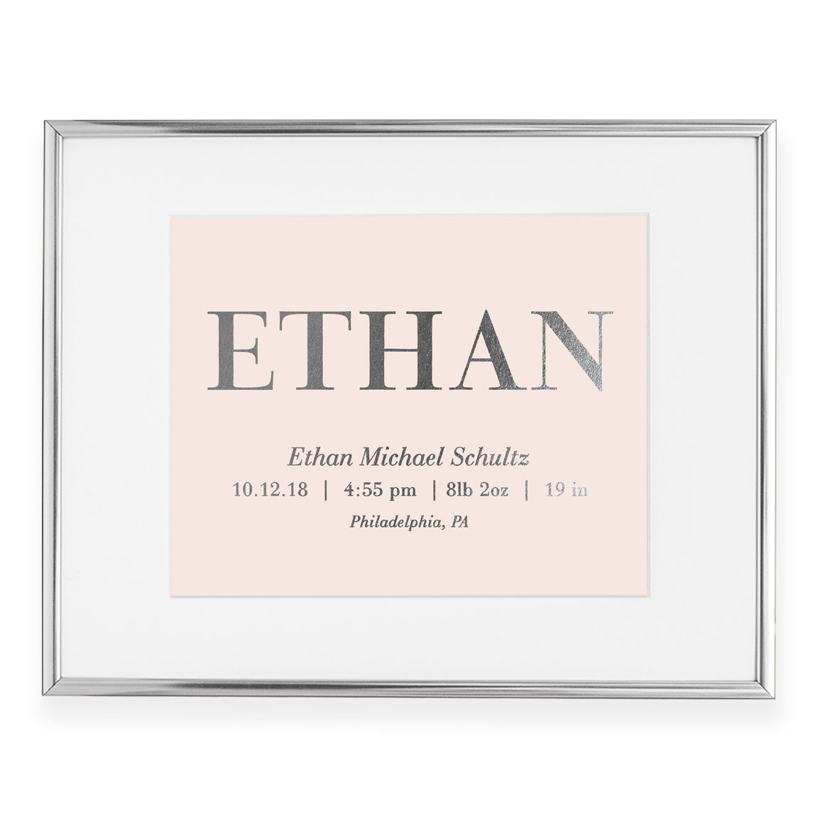 Personalized Baby Birth Stats Foil Art Print | Ethan