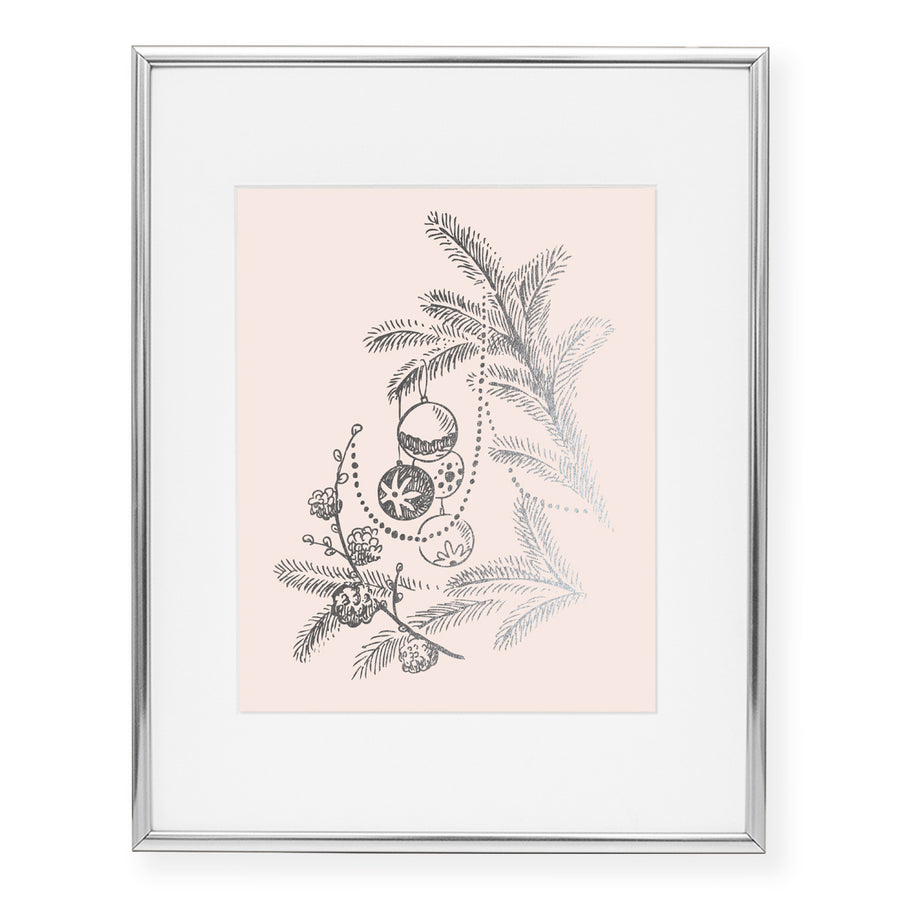 Christmas Branches with Ornaments Foil Art Print