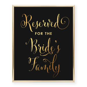 Reserved for Bride's Family Foil Art Print