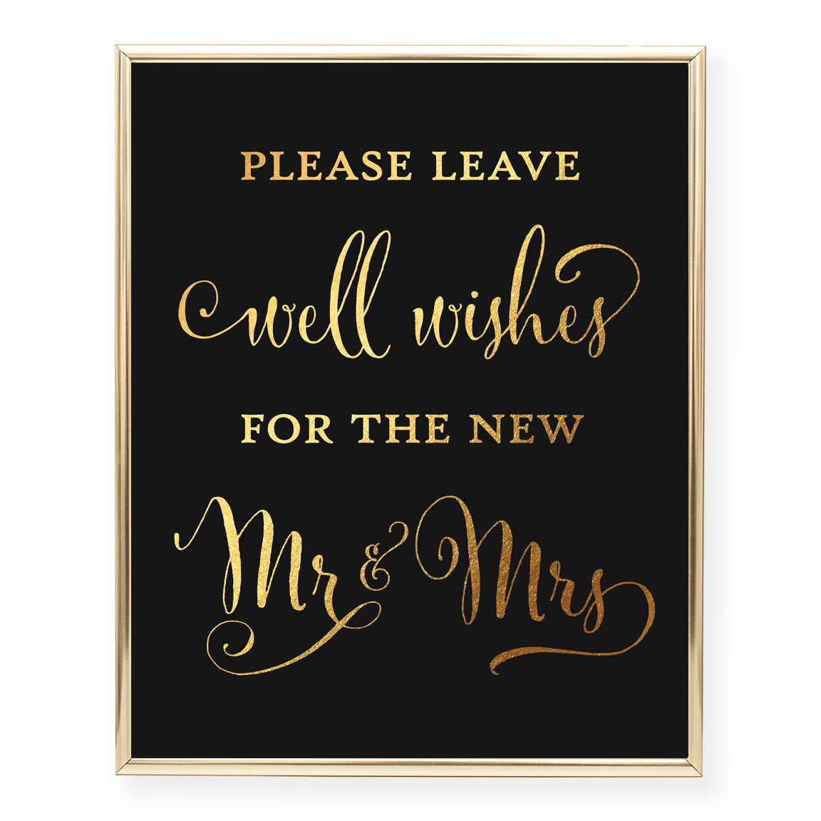 Wedding Wishes for the Newlyweds Foil Art Print
