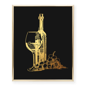 Wine Glass + Bottle Foil Art Print