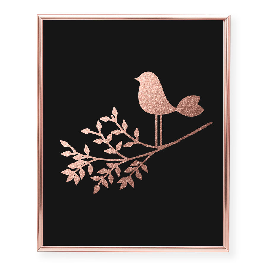 Bird on a Branch Foil Art Print
