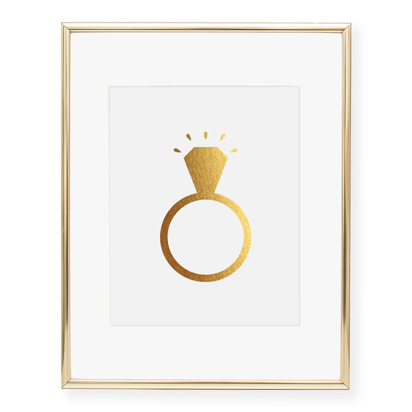 Diamond Ring Foil Art Print