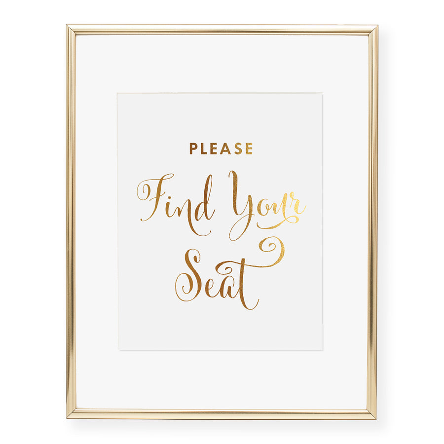 Please Find Your Seat Wedding Ceremony Foil Art Print