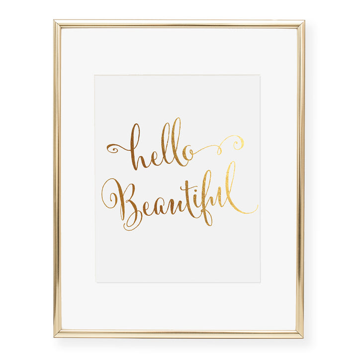 Hello Beautiful Foil Art Print
