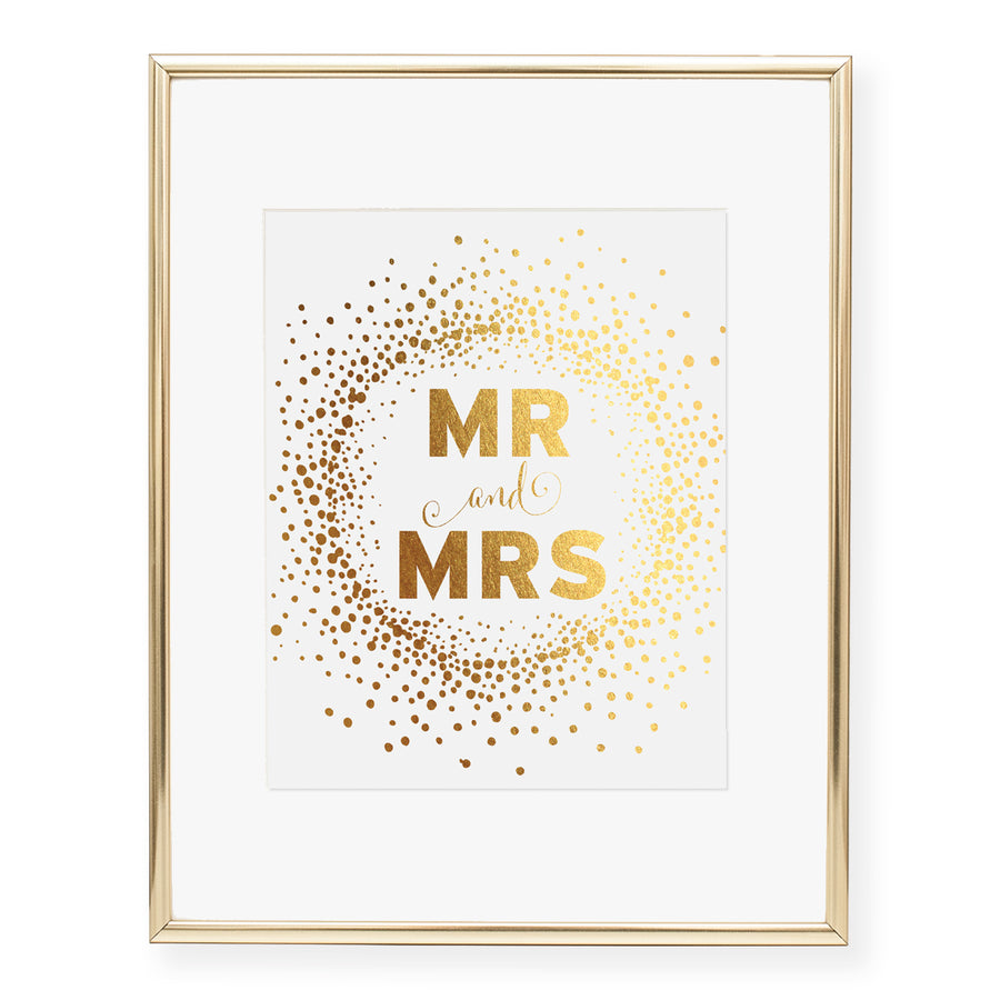 Mr and Mrs Foil Art Print