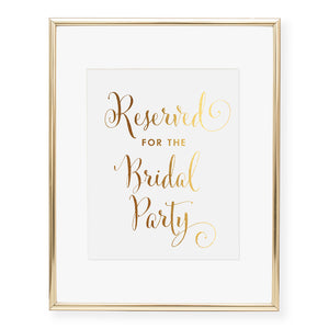 Reserved for the Bridal Party Wedding Sign Foil Art Print