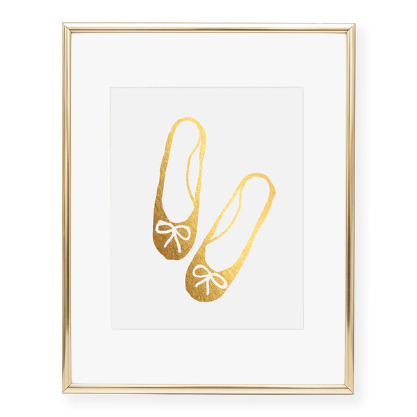 Ballet Slippers Foil Art Print