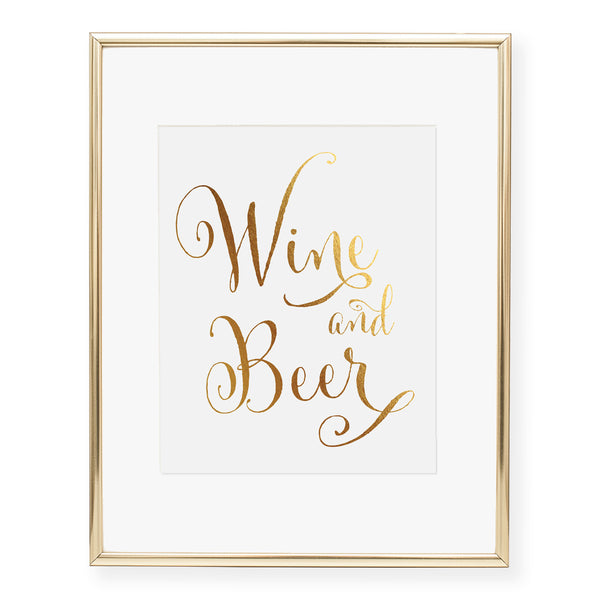 Wine and Beer Foil Art Print