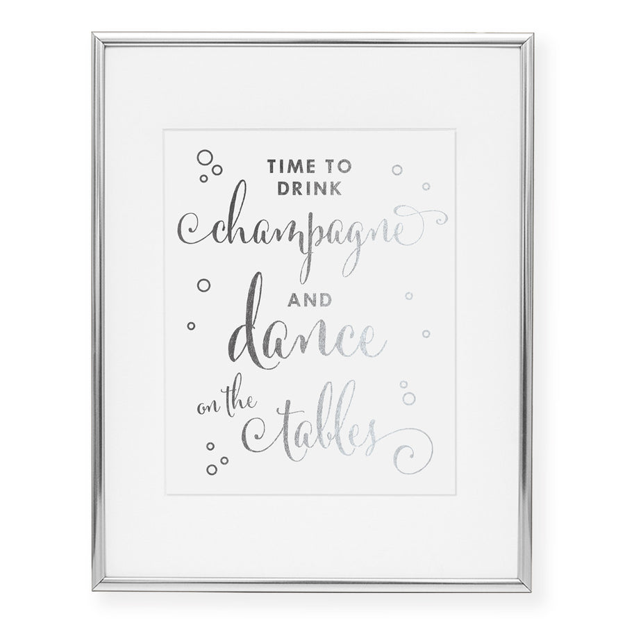 Time To Drink Champagne Foil Art Print