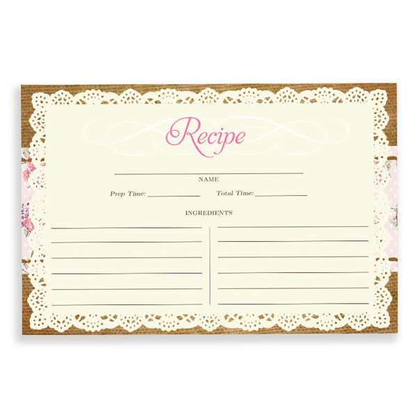 Lace Recipe Cards |  Faith Pink