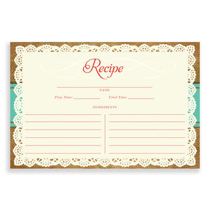 Lace Recipe Cards |  Faith Teal