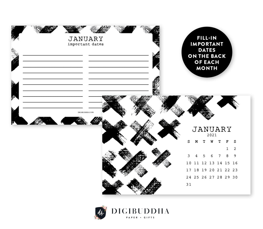 2021 Edgy Black & White Desk Calendar by Digibuddha | Coll. 7