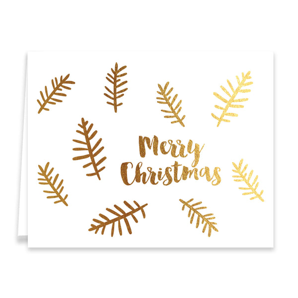 Merry Christmas Gold Foil Holiday Greeting Card
