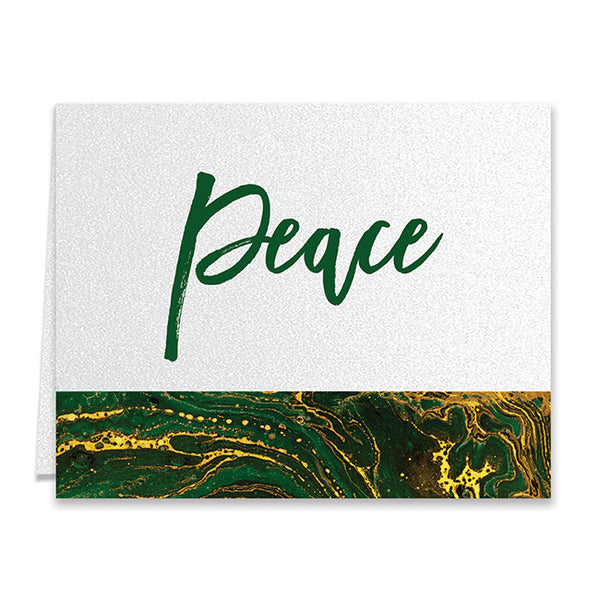 Marbled Green & Gold Boxed Holiday Cards | Gretha