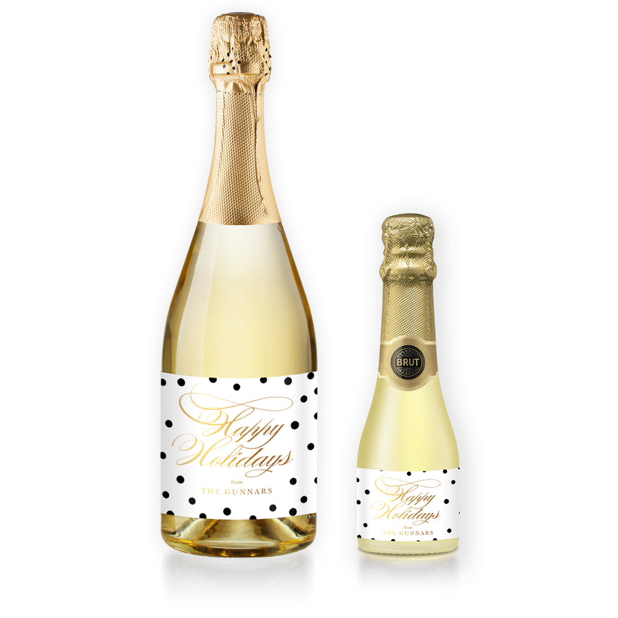 """Gunnar"" White + Black Dots Holiday Champagne Labels"