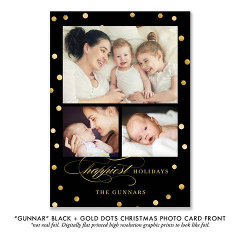 Black and Gold Photo Holiday Card | Gunnar