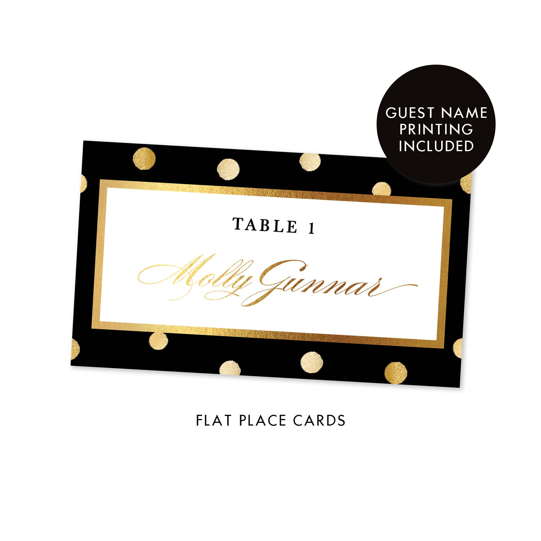 Black Place Cards with Gold Dots | Gunnar