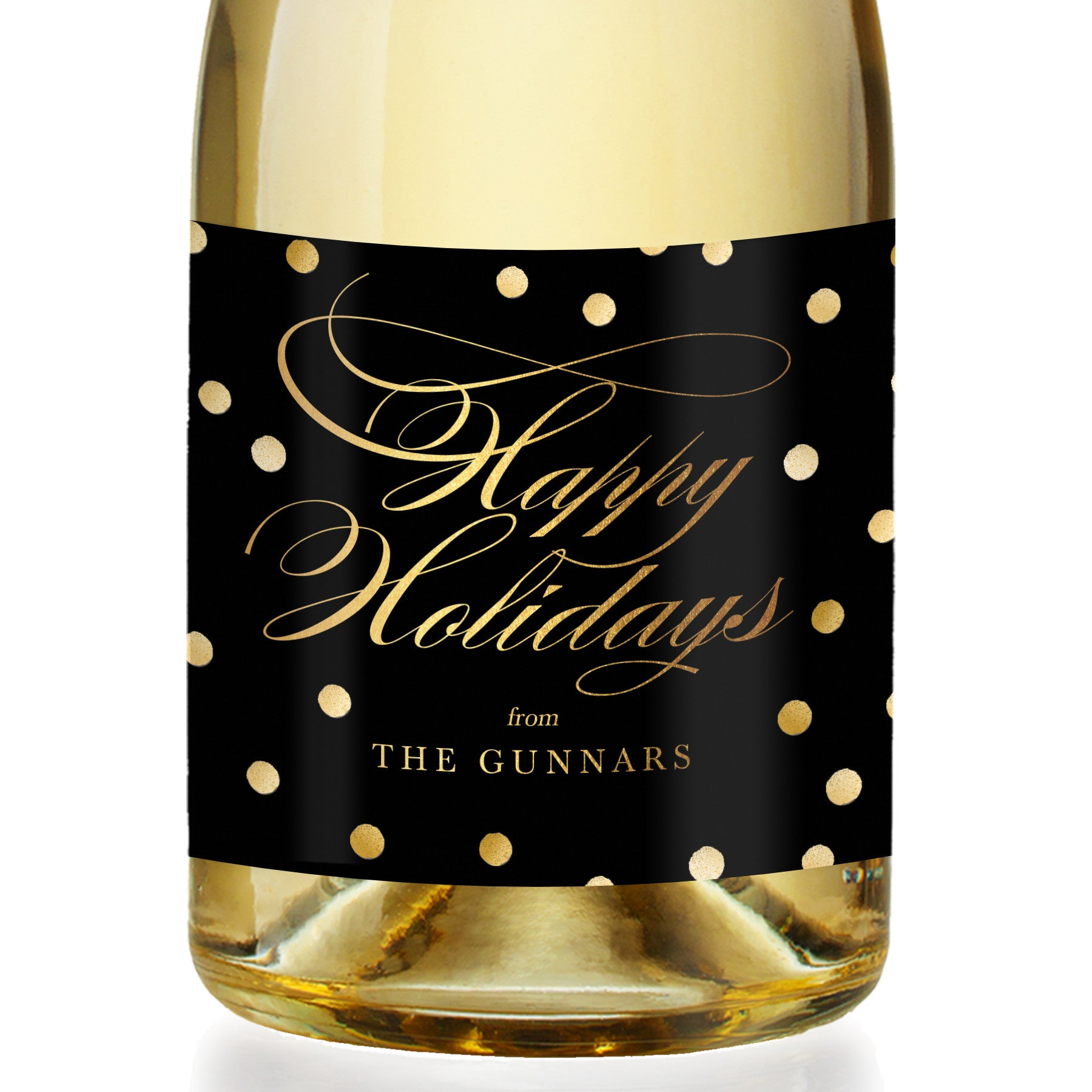 """Gunnar"" Black + Gold Dots Holiday Champagne Labels"