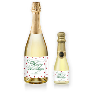 """Gunnar"" White + Red Dots Holiday Champagne Labels"