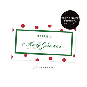 White Place Cards with Red Dots | Gunnar