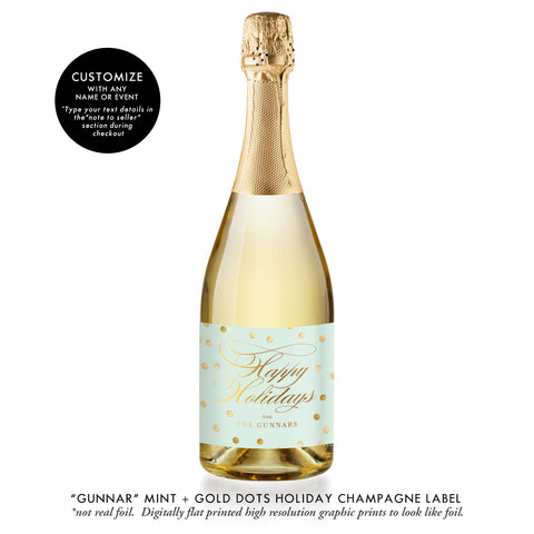 """Gunnar"" Mint + Gold Dots Holiday Champagne Labels"