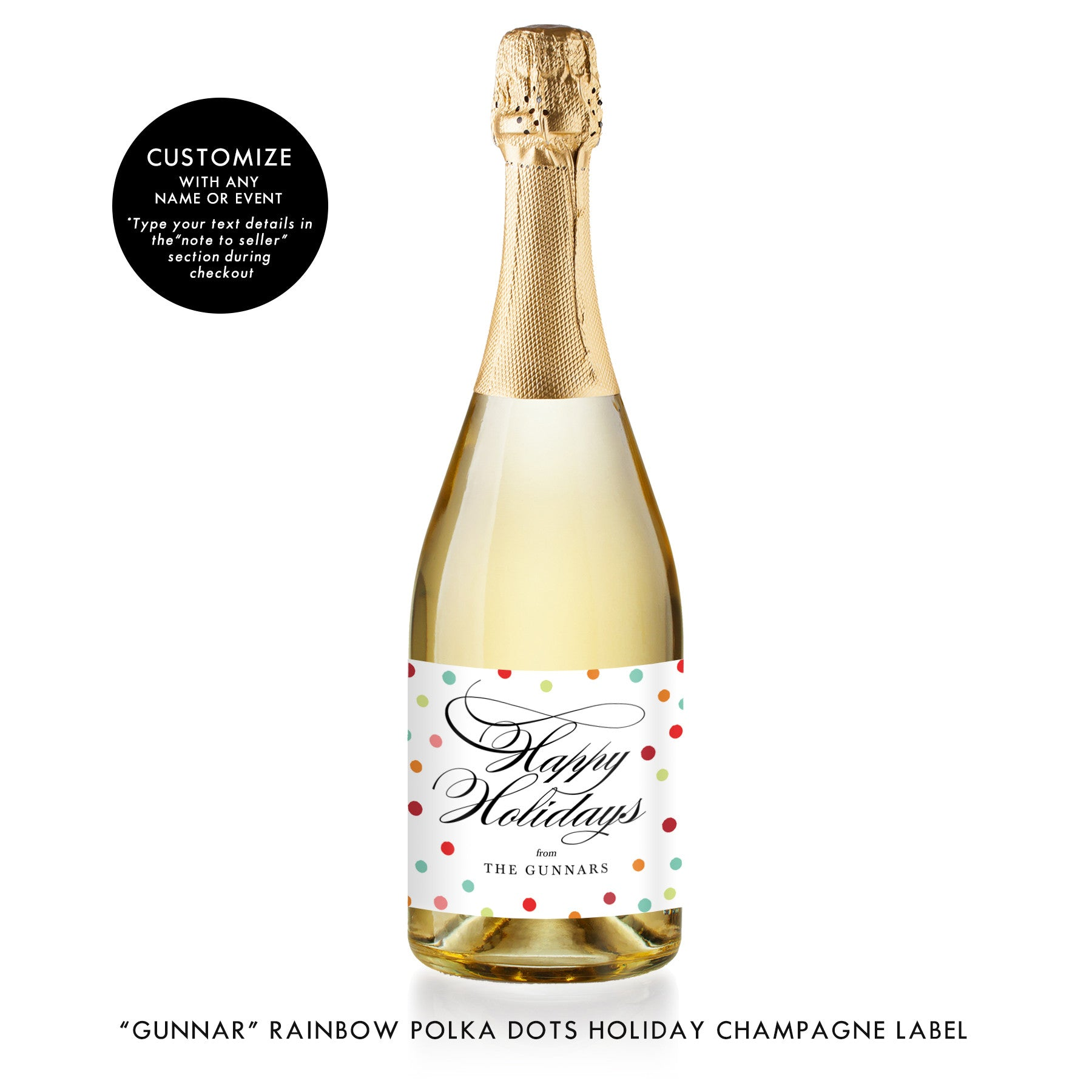 """Gunnar"" Rainbow Polka Dots Holiday Champagne Labels"