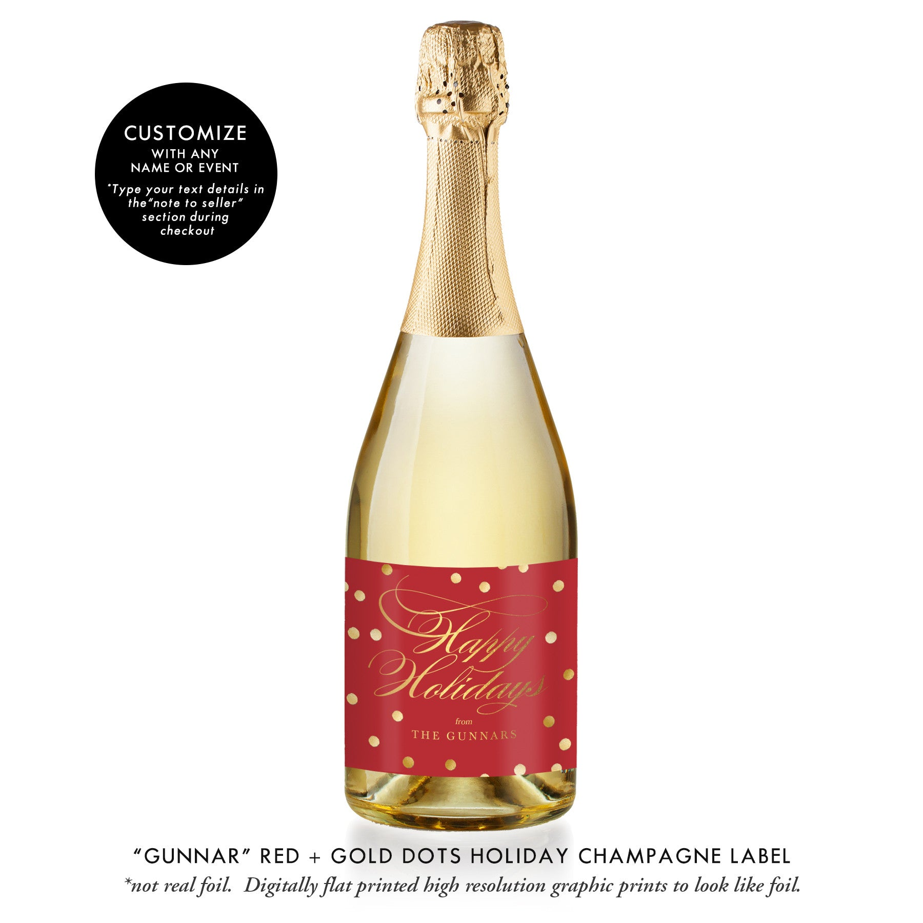 """Gunnar"" Red + Gold Dots Holiday Champagne Labels"