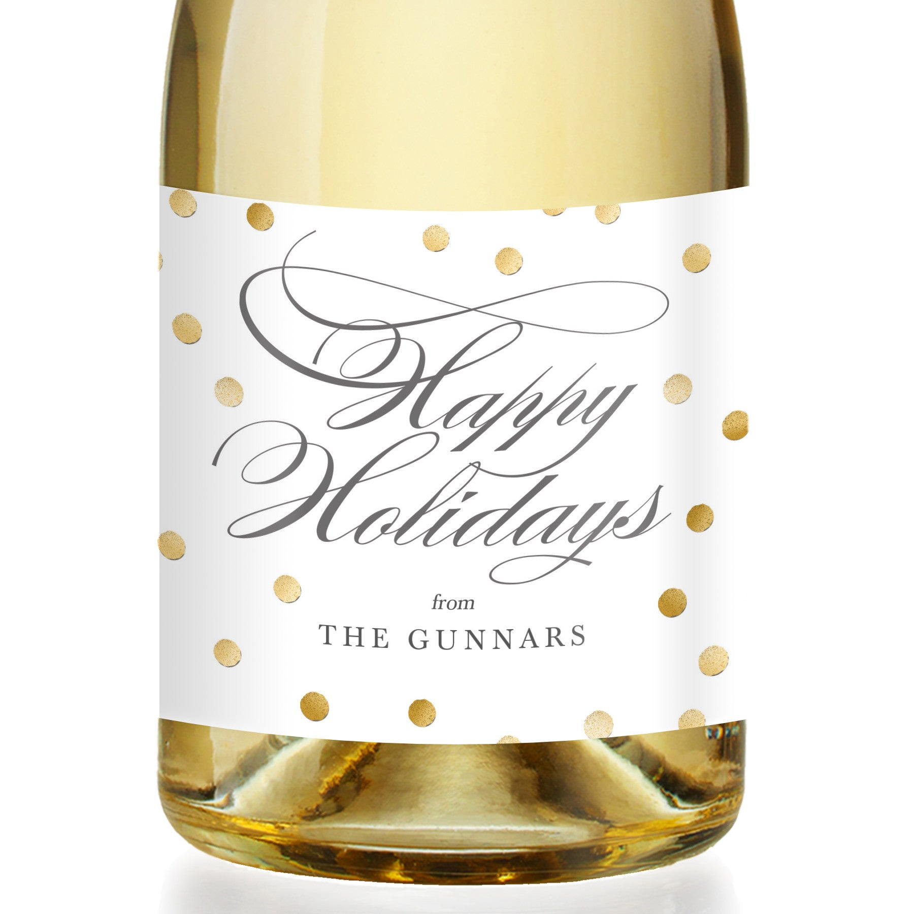 """Gunnar"" White + Gold Dots Holiday Champagne Labels"